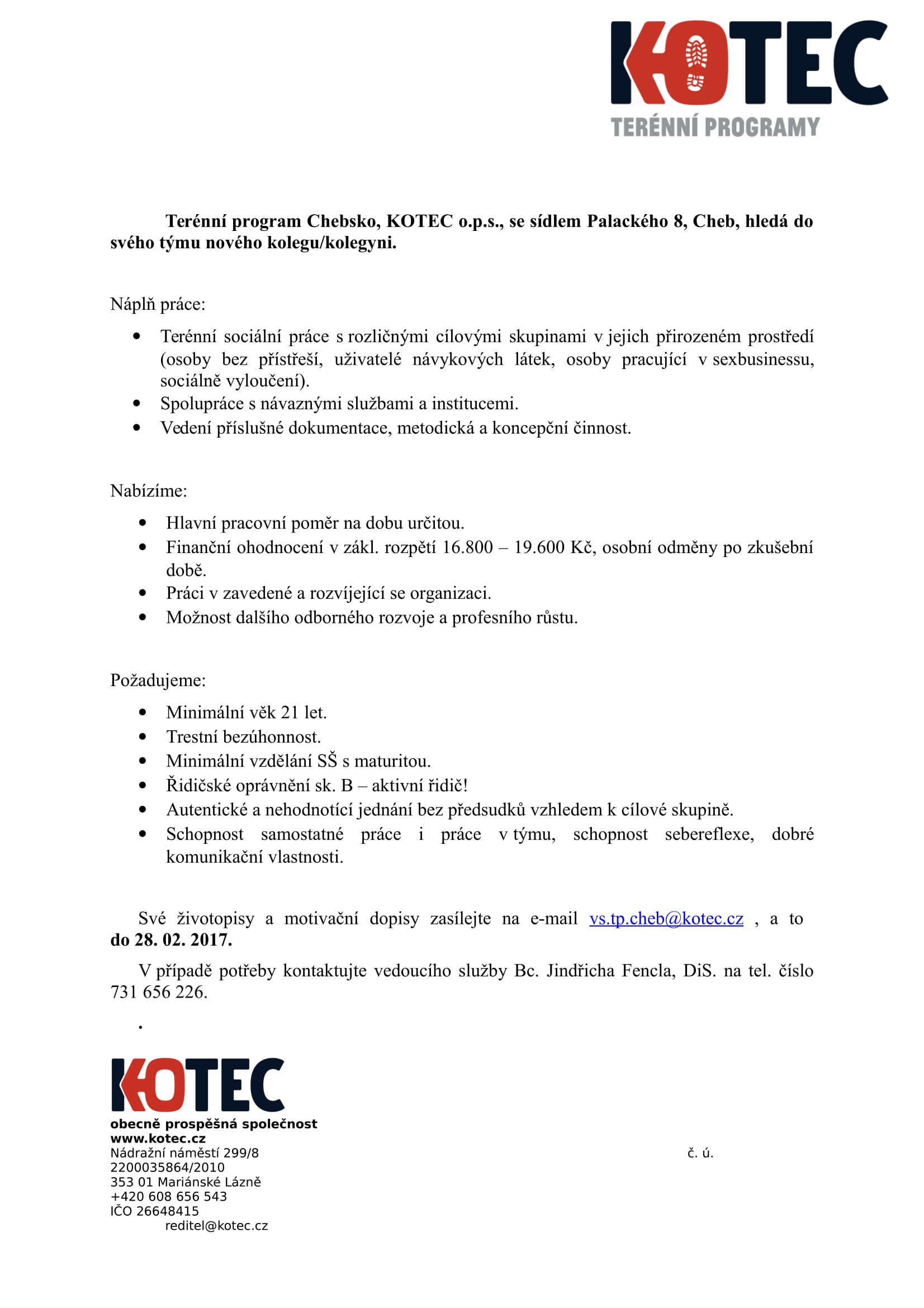 Inzerát - Výběrové řízení 2017 TP Chebsko, KOTEC o.p.s.-1